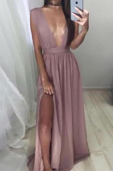 Sexy V-neck Simple Prom Dress,CHeap Long Chiffon Prom Dresses with Slit,Blush Evening Dress