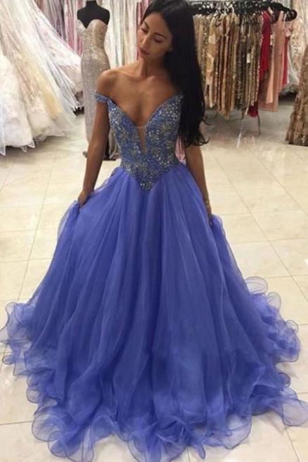 Charming Off the Shoulder Sexy Prom Dresses,CHeap Tulle Prom Dress,Sweep Train Prom Dress with Beading,Sexy Evening Gowns