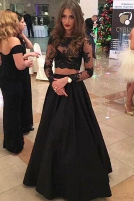 Charming Two Piece Prom Dresses,A-line Lace Prom Dress, Long Sleeves Evening Dress,Black Evening Dress,Formal Gowns