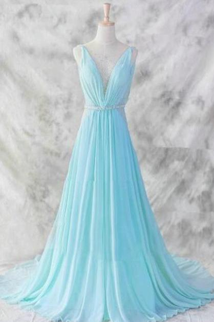 Floor Length Chiffon Prom Dress,Charming Blue V-neckline Prom Gown,Baby Blue Evening Dresses,Blue Formal Dresses,Formal Dresses