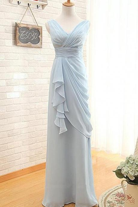 Sleeveless Long Chiffon Bridemsaid Dresses,Long Bridesmaid Dress,V Neck Light Blue Prom Dress,Wedding Bridesmaid Dress,High Quality Bridesmaid Dresses