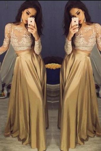 Charming Long Sleeve Prom Dresses,Cheap A Line Prom Dress,Lace Prom Dress,Appliques Prom Dress,Sexy Satin Prom Dresses