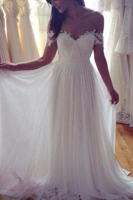New Elegant Beach Wedding Dress Sweetheart Appliques Chiffon Vintage Boho Backless Bride Dress