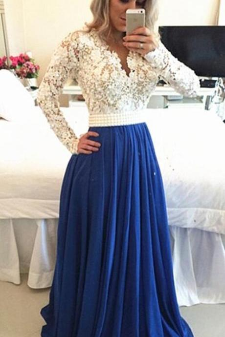 Royal Blue Long Sleeves Prom Dress, Cheap White Evening Dresses, Lace Prom Dresses, Chiffon Party Dresses, Porm Dress