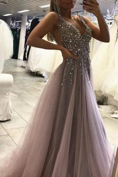 Sleeveless Sexy Side Split Prom Dress,Tulle Evening Dress,Long Cheap Prom Dress, Senior Prom Dress, Prom Dress for Teens