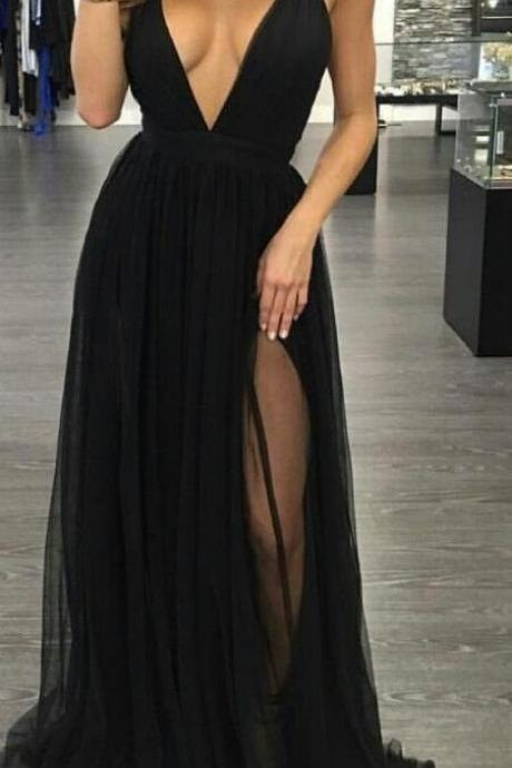 Spaghetti Straps Sexy Black Prom Dress,Deep V-neckline Formal Dresses,Black Slit Evening Dresses,Black V-neck Evening Dress