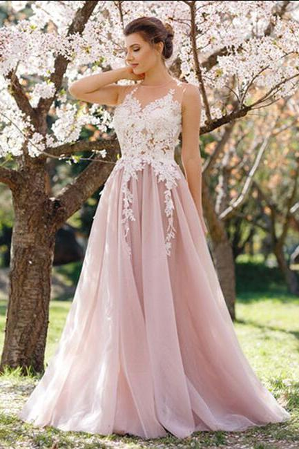 Charming Round Neck Sleeveless Prom Dress,A-Line Pink Tulle Long Prom Dress with Apliques, Modest Prom Dress, Elegant Prom Evening Dress, Prom Dresses