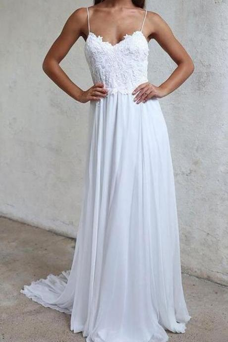 Cheap White lace Wedding Dresses,Beach Wedding Dres,A Line v neck Prom Dress,Backless Evening Dresses