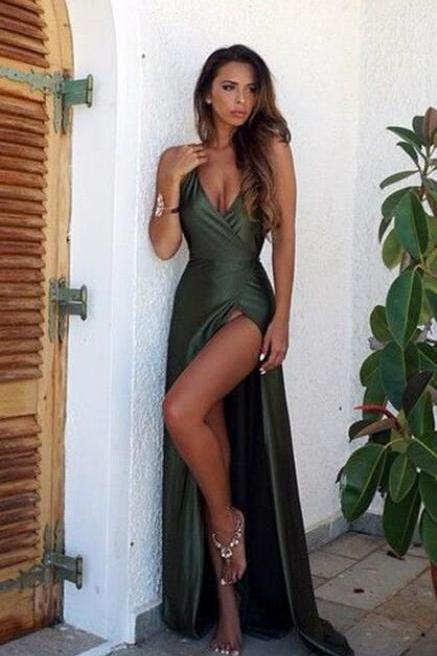 Sexy V Neck Prom Dress,Backless Cheap Prom Dress,Split Prom Dresses,Green Prom Dress