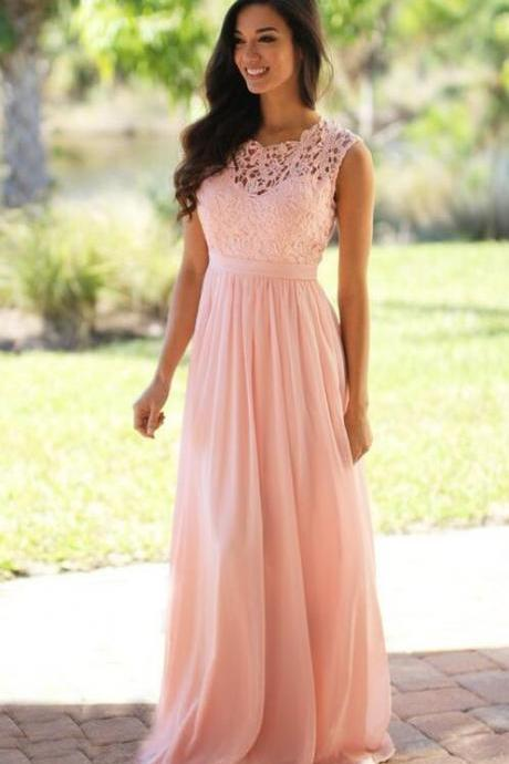 Pink Lace Chiffon Bridemsaid Dress, Pink Bridesmaid Dresses, Mint Prom Dress, Mint Bridesmaid Dresses, Chiffon Prom Dress, Cheap Prom Dress