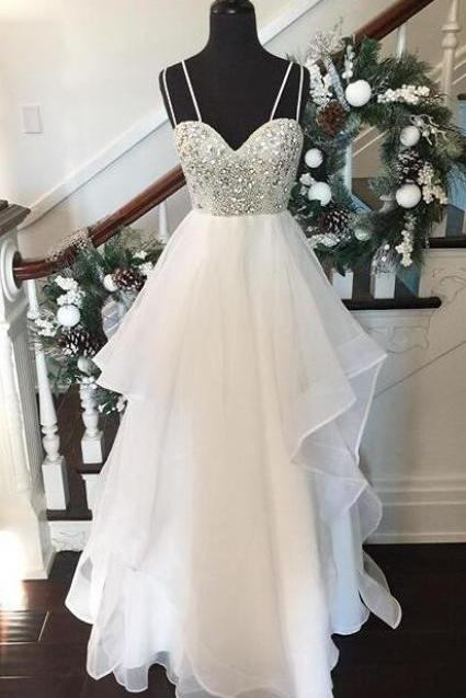 Sexy Tulle Beaded Sweetheart Wedding dresses,Layered Skirt Wedding Dress With Spaghetti Straps
