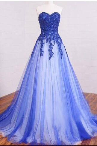 A-line Lace Tulle Long Prom Dresses, Sweetheart Formal Dresses, Blue Lace Long Prom Dress, Lace Evening Dress