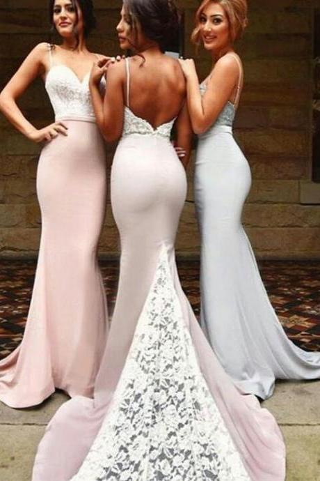 Spaghetti Strap Lace Sweetheart Neckline Bodice in Mermaid Silhouette Guest Wedding Dress