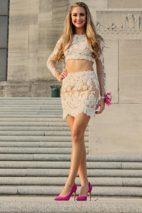 Homecoming Dress,two Piece Homecoming Dresses,long Sleeves Homecoming Dresses