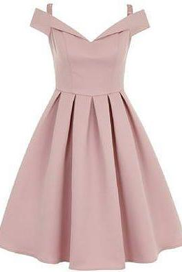 Pink Off-The-Shoulder Homecoming Dress,Short A-Line Evening Dress Homecoming Dresses