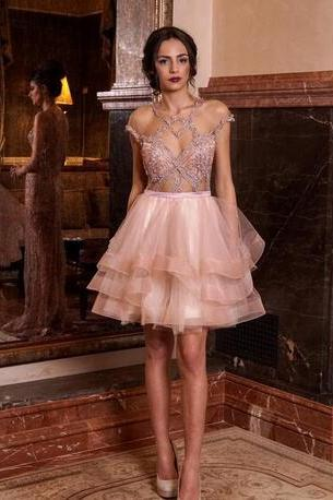 Sexy Beaded Homecoming Dresses,Pink Homecoming Dress