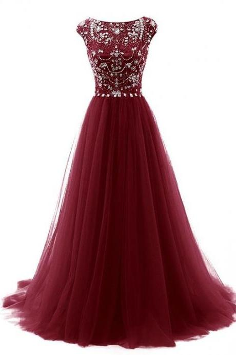 Burgundy Floor Length Beaded Embellished Prom Dress Featuring Cap Sleeves