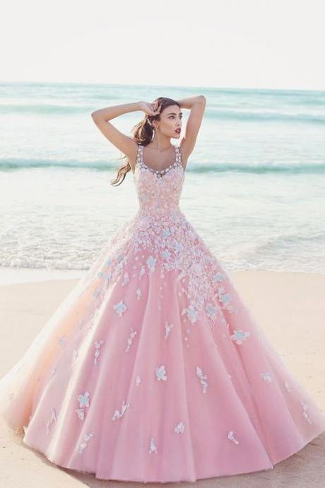 Custom Charming Pink Ball Gown Wedding Dresses,Applique Beading Wedding Dress,Pretty Spaghetti Straps Bridal Dresses,evening dresses,Prom Dresses, Cocktail Dresses, formal dresses,Wedding guests dresses