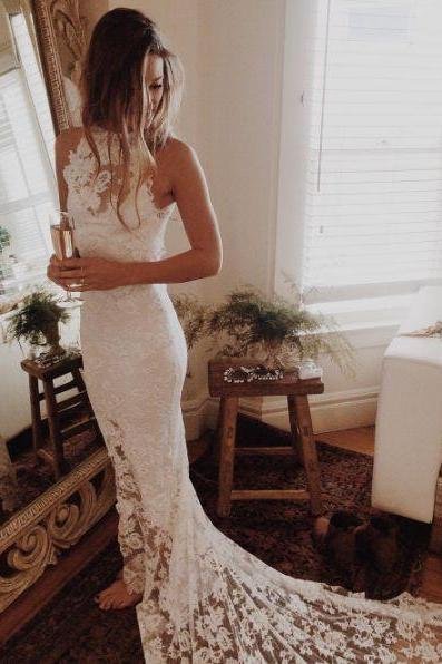 Wedding Dress,Custom Made White Lace Wedding Dresses,Halter Bridal Dress,Mermaid Bridal Dress,Sleeveless Wedding Dress,High Quality Bridal Dresses,Wedding Guest Prom Gowns, Formal Occasion Dresses,Formal Dress