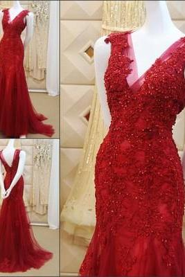 Prom Dress,Custom Made Red Lace Prom Dresses,Sexy V-Back Mermaid Evening Dress,Sleeveless Party Gown,Beaded Prom Dress,High Quality Graduation Dress,Wedding Guest Dress