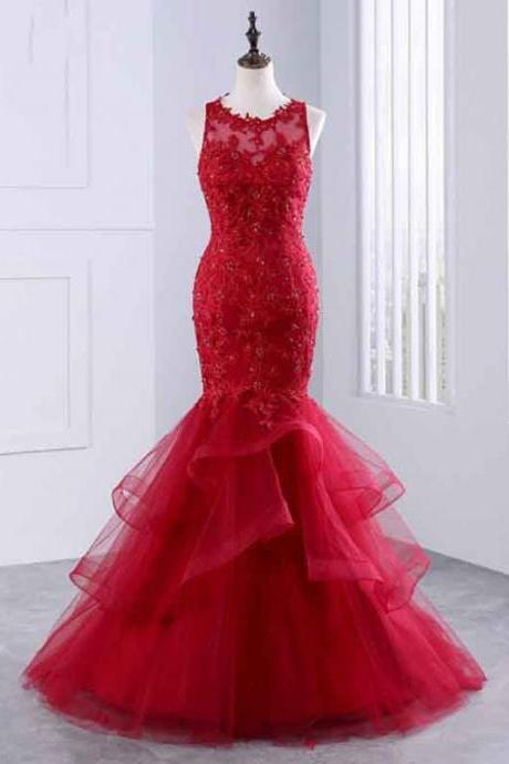 Red Sleeveless Sheer Mermaid Long Prom Dress, Evening Dress Featuring Tulle Ruffled Skirt and Lace Appliqués