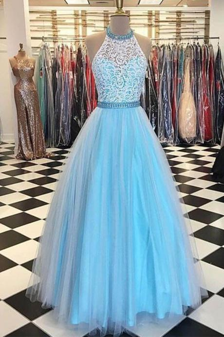 Halter Long Prom Dress with Sheer Neck
