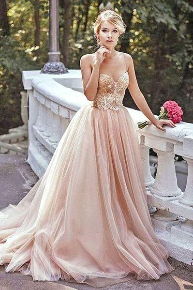 Gold Sequin A line Evening Prom Dresses, Long Tulle Party Prom Dress, Custom Long Prom Dresses, Cheap Formal Prom Dresses