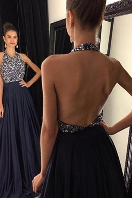 Dark Blue Prom Dress, Sexy Halter Beading Evening Dress, Sexy Open Back Prom Gown