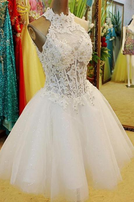 Homecoming Dress, White Homecoming Dress, Halter Homecoming Dress, Sleeveless Homecoming Dress, Short Homecoming Dress, Lace Homecoming Dress, Ball Gown Homecoming Dress, Keyhole Back Homecoming Dress, Sweet Homecoming Dress, Cocktail Dress, Short Cocktail Dress, Prom Dress, Short Prom Dress, Graduation Dress, Short Graduation Dress