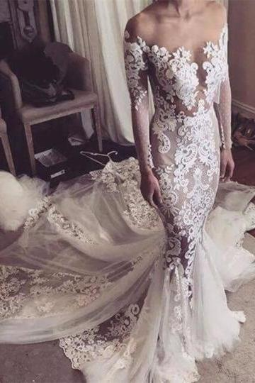 Long Sleeve Illusion Neckline Appliques Mermaid Long Sleeves Wedding Dress