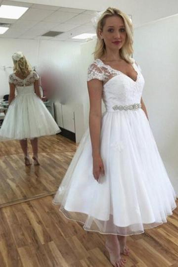 Short Sleeves Bridal Dresses,Appliques Tea-Length Wedding Dress