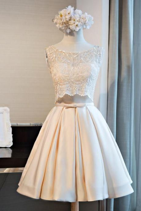 Custom Made White Two -Piece Bridesmaid Dress with Lace Top and Satin Midi Skirt