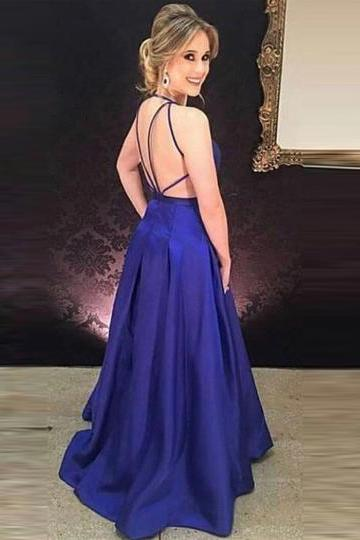 Blue A-Line V-Neck Prom Dress,Criss-Crop Straps Prom Dresses,Floor-Length Evening Dress
