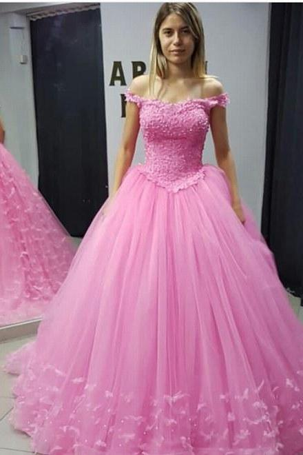 Pink off the shoulder Wedding Dress, Ball Gowns Wedding Dresses
