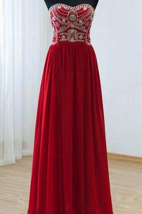 Red Beaded Embellished Sweetheart Chiffon Floor Length Prom Dress, Evening Dress