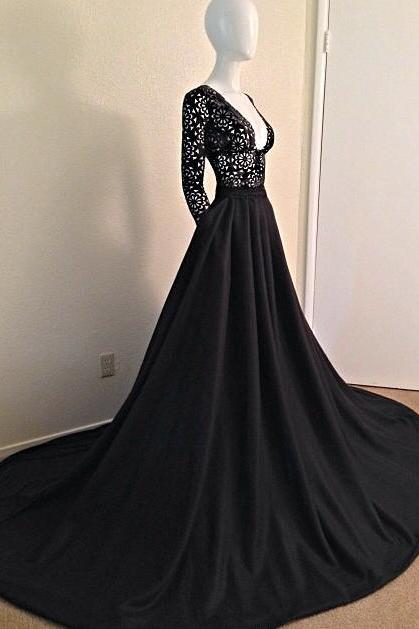 Charming Black Lace Prom Dress,Sexy Deep V-Neck Evening Dress,SexyLong Sleeves Prom Dress