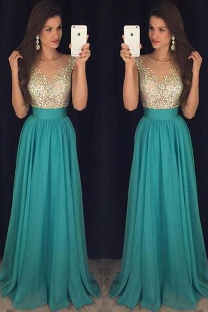 Charming Chiffon Blue Beading Prom Dress,Sexy Deep V-Neck Evening Dress,Sexy Backless Prom Dress