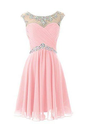 Chiffon Short Homecoming Dress, Beaded Prom Dress,Sexy Mint Green And Pink Homecoming Dress ,For Junior Birthday Dress