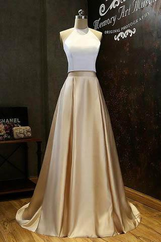 Simple Two-Piece Gold Halter Long Prom Evening Dress With White Top