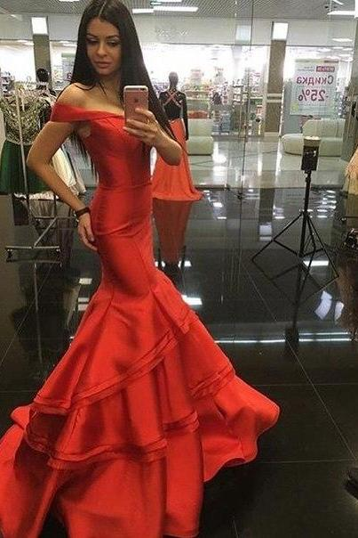 Prom Dresses, Sexy, Cheap, Red Mermaid, Backless, Prom Dress, Formal Dress ,Evening Dress ,Party Prom Gowns