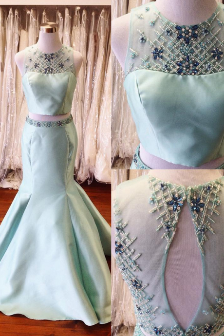 Two Pieces Long Mermaid Satin Prom Dresses For Teens Beading Mint Backless Prom Gowns