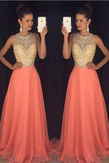 Custom Made, Chiffon Prom Dress,Beading Sleeveless Evening Dress,Sexy Halter Party Dress