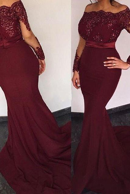 Burgundy Satin Long Sleeves Elie Saab Prom Dresses ,Off the shoulder Appliques Evening Dresses, Long Mermaid Party Dress,Long Sexy Prom Dresses,Long Sleeves Mermaid Formal Gowns