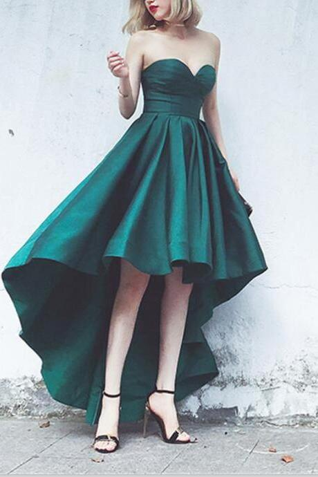 Dark Green Formal Dress Satin Sweetheart Prom Dres High Low Homecoming Dresses