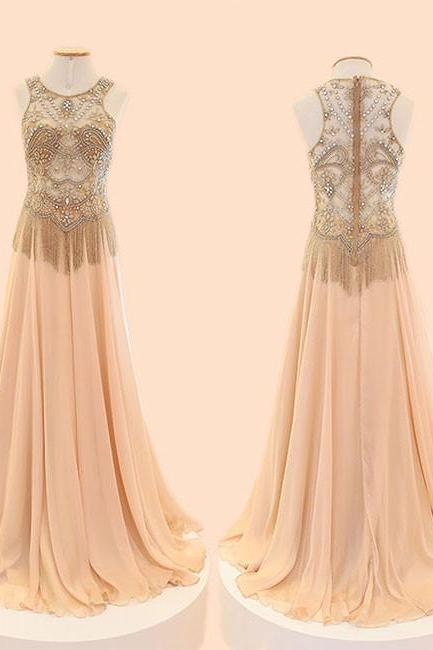 CHAMPAGNE A-LINE ROUND NECK CHIFFON BEADED LONG PROM DRESS EVENING DRESS