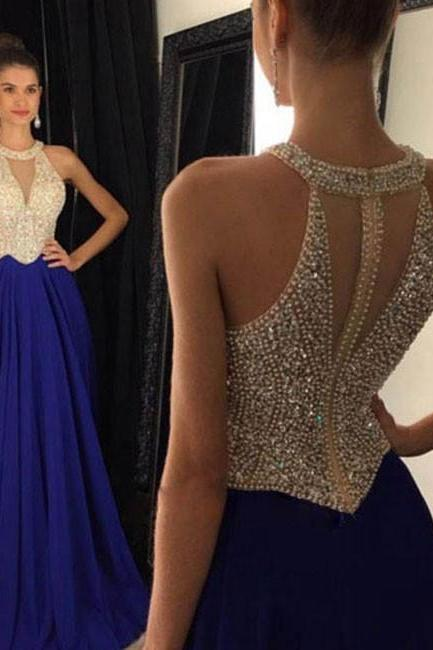 BLUE ROUND NECK CHIFFON BEADED LONG PROM DRESS FORMAL DRESS