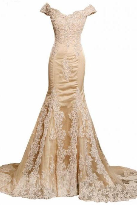 Charming Champagne Prom Dresses, Lace Prom Dress, Elegant Appliques Crystal , Tulle Mermaid Evening Dresses, V-Neck Celebrity Party Dresses