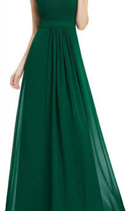 Green V-neck One Shoulder Chiffon Long Prom Dress