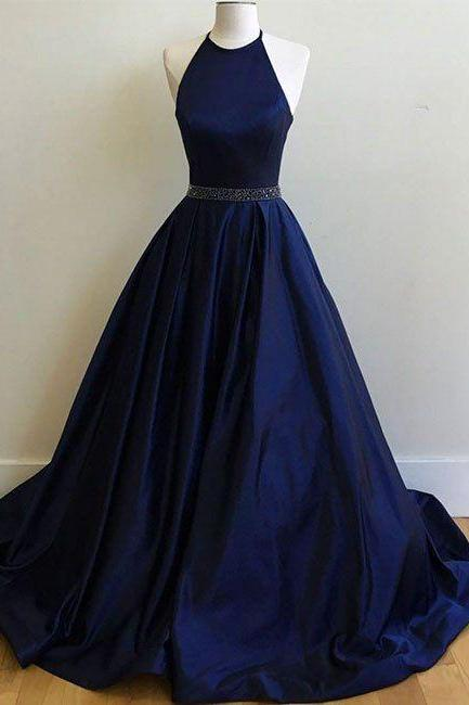Custom Made Royal Blue Prom Dress,Halter Beaded Evening Dress,Floor Length Party Dress,high quality