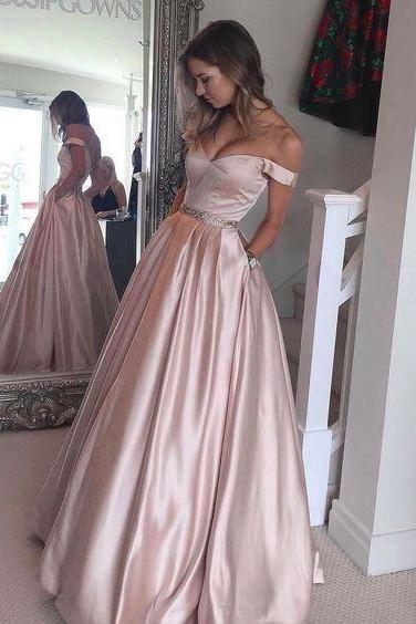 New Arrival Prom Dress,Pink Off The Shoulder Evening Dress,Full Length Party Dress